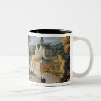 Figures in a landscape with village and castle bey Two-Tone coffee mug
