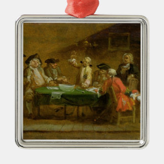 Figures in a Tavern or Coffee House, 1720s (oil on Christmas Ornament