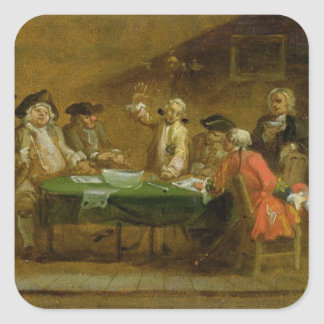 Figures in a Tavern or Coffee House, 1720s (oil on Square Sticker