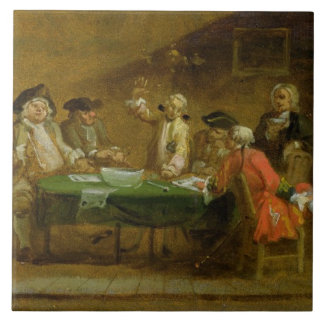 Figures in a Tavern or Coffee House, 1720s (oil on Tile