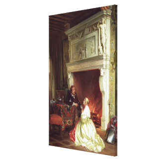 Figures in an Interior (oil on panel) Canvas Print