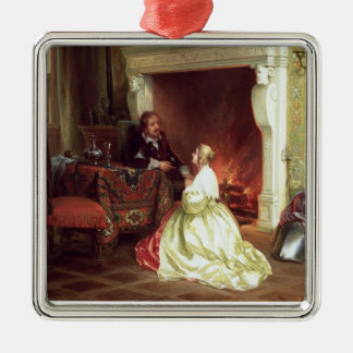 Figures in an Interior (oil on panel) Christmas Ornament