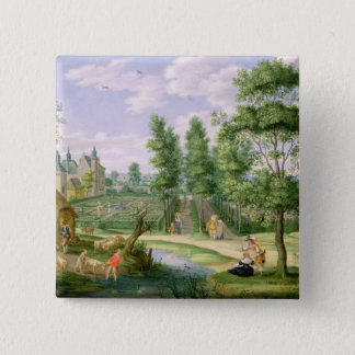 Figures in the Grounds of a Country House 15 Cm Square Badge