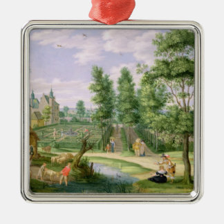 Figures in the Grounds of a Country House Christmas Ornament