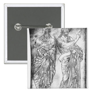 Figures of two apostles or prophets 15 cm square badge