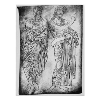 Figures of two apostles or prophets poster