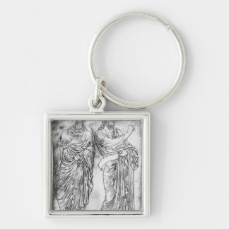 Figures of two apostles or prophets Silver-Colored square key ring