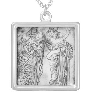 Figures of two apostles or prophets silver plated necklace