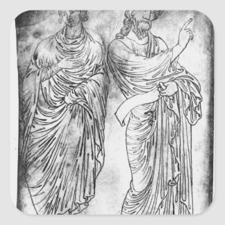 Figures of two apostles or prophets square sticker