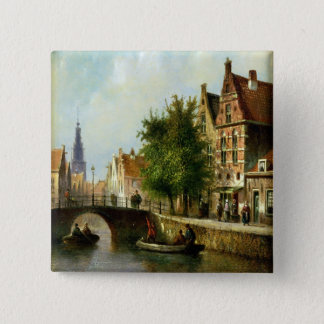 Figures on a Canal, Amsterdam (oil on panel) 15 Cm Square Badge