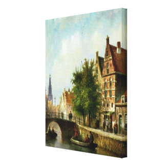 Figures on a Canal, Amsterdam (oil on panel) Gallery Wrapped Canvas