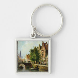 Figures on a Canal, Amsterdam (oil on panel) Key Ring