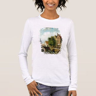 Figures on a Canal, Amsterdam (oil on panel) Long Sleeve T-Shirt