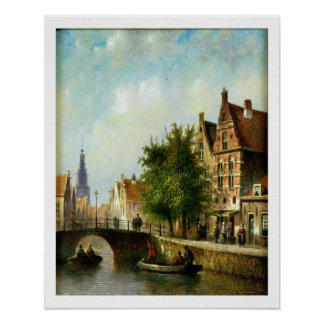 Figures on a Canal, Amsterdam (oil on panel) Poster