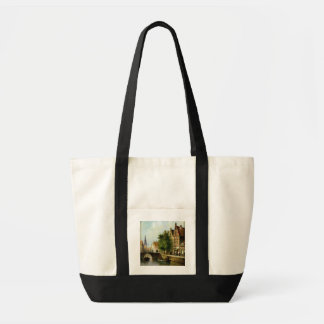 Figures on a Canal, Amsterdam (oil on panel) Tote Bag