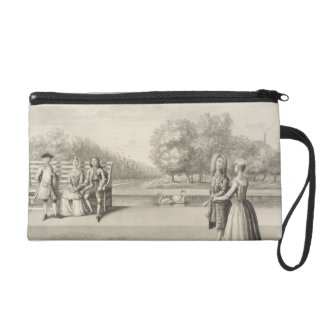 Figures on the bank of the Long Water, Hampton Cou Wristlet Purses