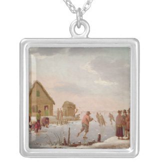 Figures Skating in a Winter Landscape Silver Plated Necklace