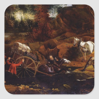Figures With A Cart And Horses by Jan Siberechts Square Stickers