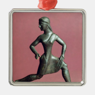 Figurine of a girl running, Silver-Colored square decoration