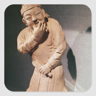Figurine of an actor whistling square sticker