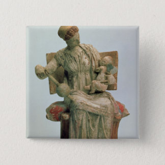 Figurine of Aphrodite playing with Eros 15 Cm Square Badge