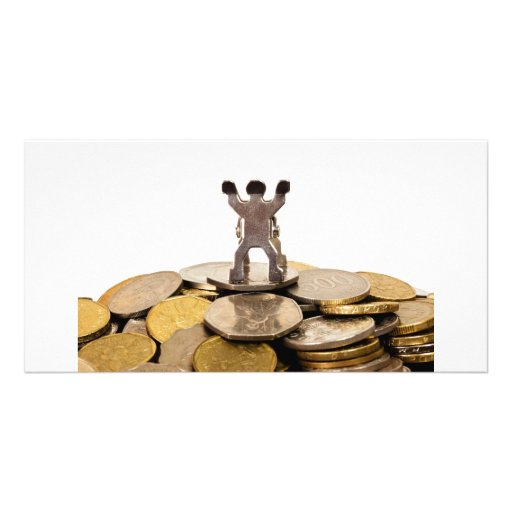 Figurine on top of a pile of coins personalized photo card