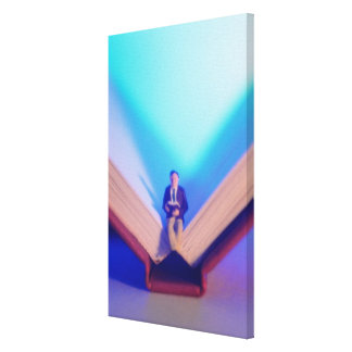 Figurine sitting on open book canvas print