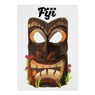 Fiji carved mask poster
