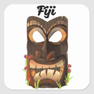 Fiji carved mask square sticker