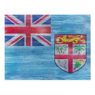 Fiji distressed flag postcard