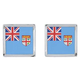 Fiji Flag Cufflinks Silver Finish Cuff Links