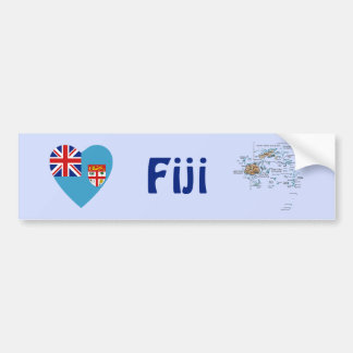 Fiji Flag Heart + Map Bumper Sticker