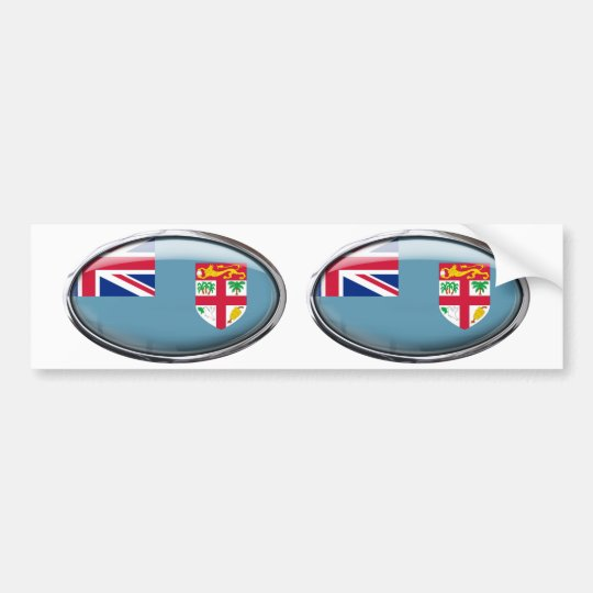 Fiji Flag in Glass Oval Bumper Sticker