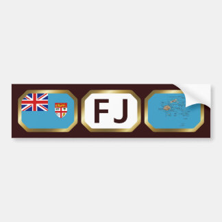 Fiji Flag Map Code Bumper Sticker