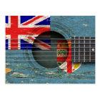 Fiji Flag on Old Acoustic Guitar Postcard