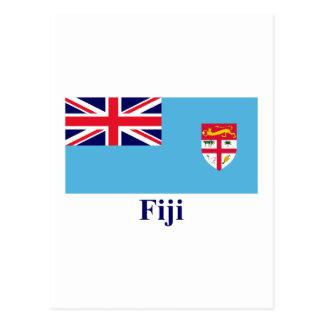 Fiji Flag with Name Postcard