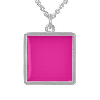 Fiji Fuchsia-Purple-Pink Magenta Tropical Romance Square Pendant Necklace