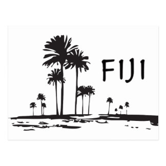 Fiji - Graphic Palm Trees Postcard