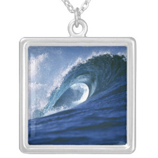 Fiji Islands, Tavarua, Cloudbreak. A wave Silver Plated Necklace