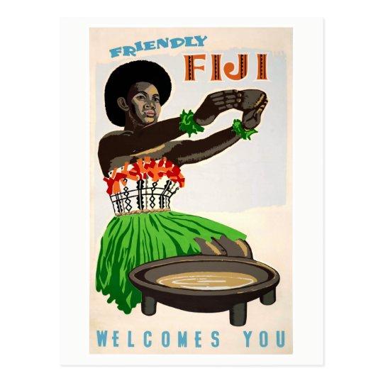 Fiji Restored Vintage Travel Poster Postcard