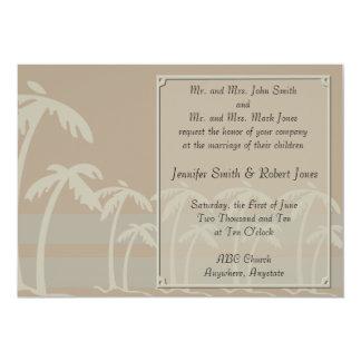 Fiji: Tropical Palm Trees in Taupe, Creme, Blue 13 Cm X 18 Cm Invitation Card