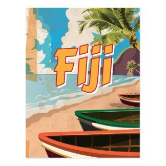 Fiji Vintage travel poster Postcard