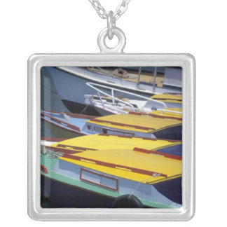 Fiji, Viti Levu, Lautoka, Small boats in Port of Silver Plated Necklace