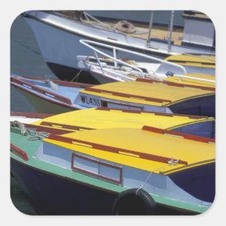Fiji, Viti Levu, Lautoka, Small boats in Port of Square Sticker