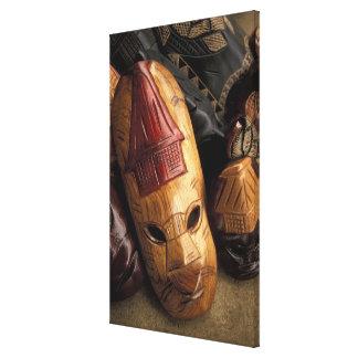 Fiji, Viti Levu Masks at a town market. Canvas Prints