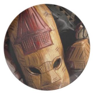 Fiji, Viti Levu Masks at a town market. Plate