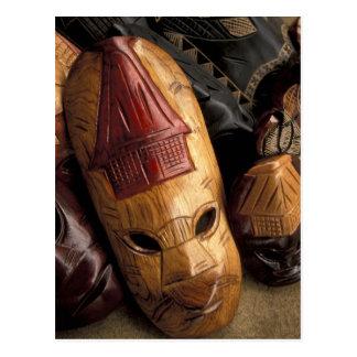 Fiji, Viti Levu Masks at a town market. Postcards