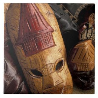 Fiji, Viti Levu Masks at a town market. Large Square Tile