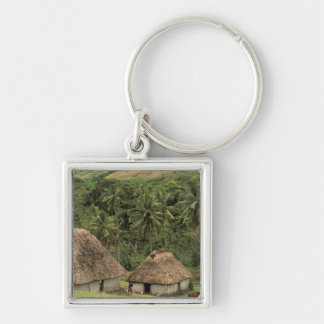 Fiji, Viti Levu, Navala, Traditional Bure houses Silver-Colored Square Key Ring
