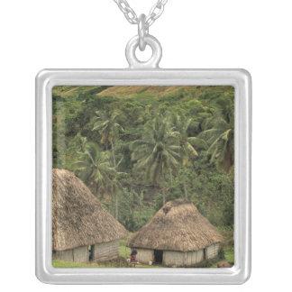 Fiji, Viti Levu, Navala, Traditional Bure houses Silver Plated Necklace